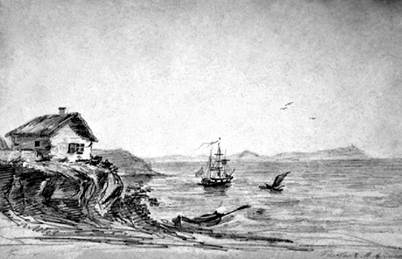 Тамань. Домик над морским обрывом. Рисунок Лермонтова