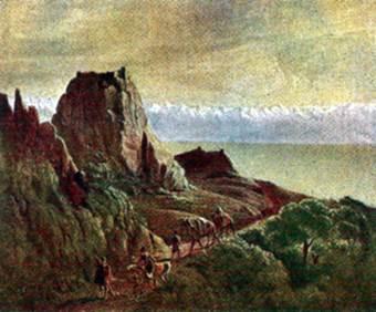 Кавказский вид с верблюдами