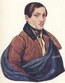 Неизвестный молодой человек в синем (С. А. Раевский?).