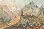 Вид Крестовой горы из ущелья близ Коби. 1837—38 г.)